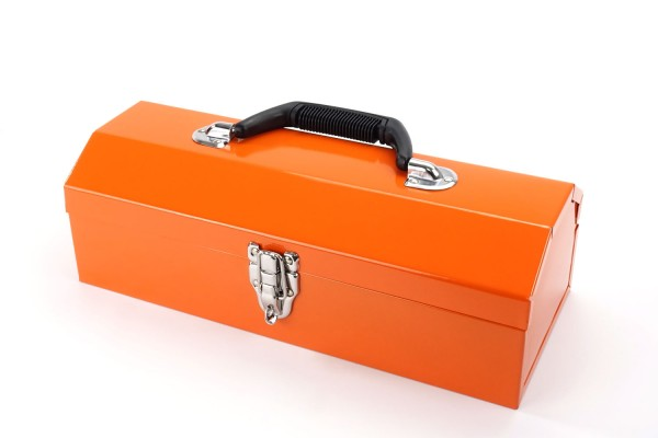 Kleine Aufbewahrungsbox | Toolbox aus Metall | 36 x 15 x 13 cm | Orange